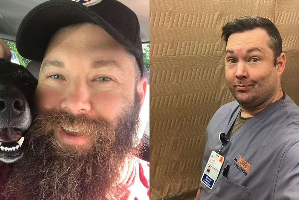 Scott Darrah before and after side-by-side pictures - clean shaven and with beard